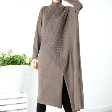 Buykud Pure Color Asymmetrical Woven Turtleneck Sweater