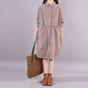 Pure Color Bat Sleeve Corduroy Dress