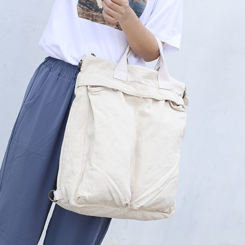 Pure Color Canvas Square Backpack