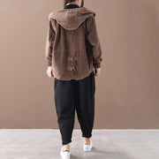 Pure Color Corduroy Casual Hooded Coat