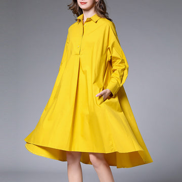 Pure Color Cotton Fashion Shirt Dress
