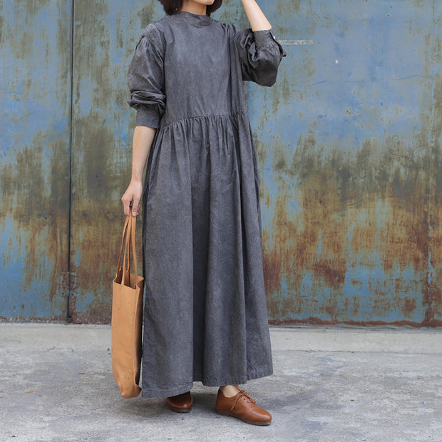 Pure Color Drawstring Retro Comfortable Dress