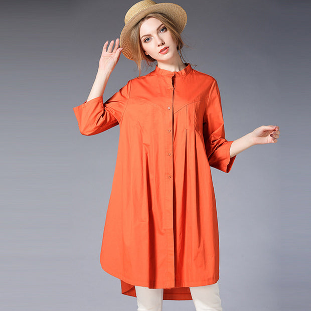 Pure Color Plus Size Cotton Shirt