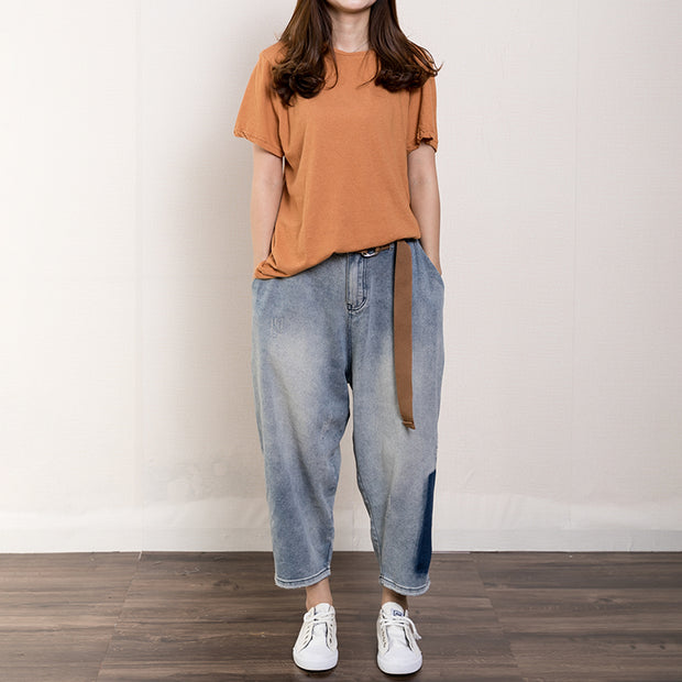 Pure Color Simple Casual Comfortable T-Shirt