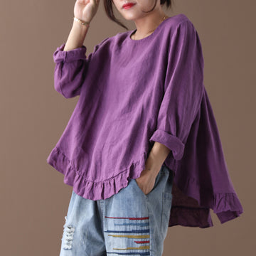 Pure Color Spliced Back Button Casual Blouse