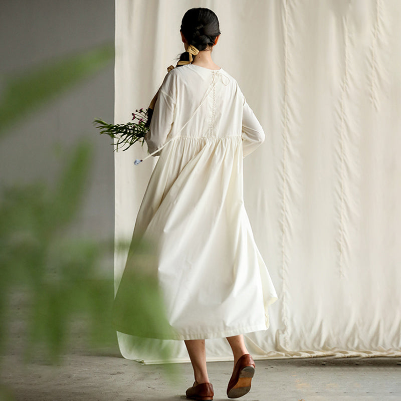 Pure Color Spliced Elegant Loose Cotton Dress