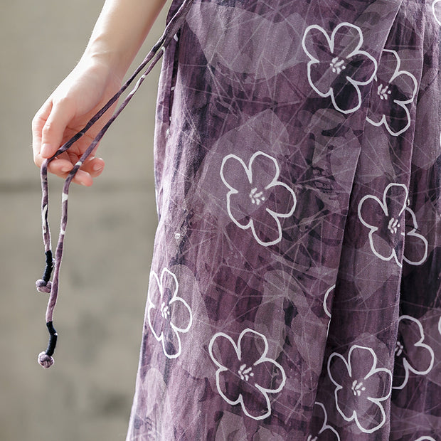 Purple Cotton Linen Flower Women Pants