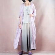 Purple Loose Linen Stripe Women Cloak