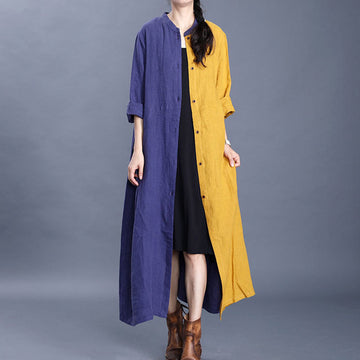 Purple and Yellow Stitching Casual Dress