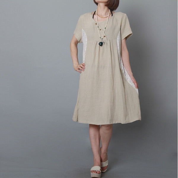 Short-sleeved cotton dress - Tkdress  - 1