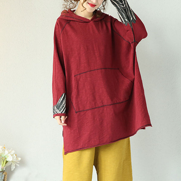 Spring And Autumn Retro Purple Red Hooded Pullover Shirt