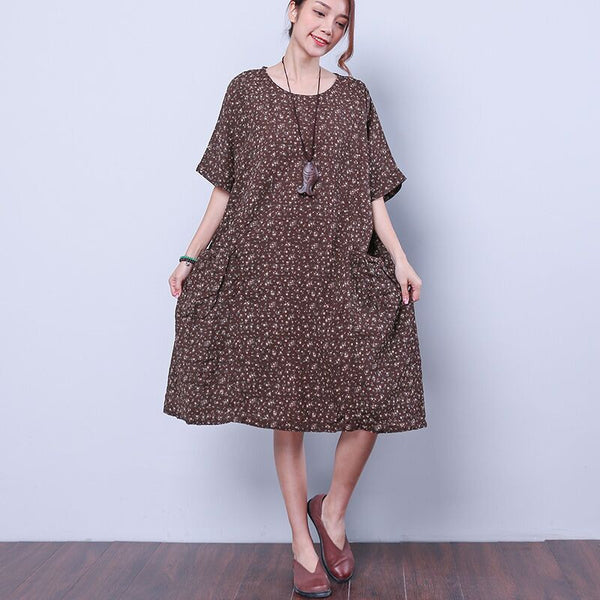 Summer Women Elegant Floral Brown Dress - Buykud