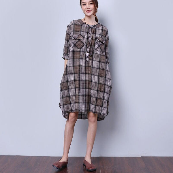 Summer Women Retro Splitting Gray Dress