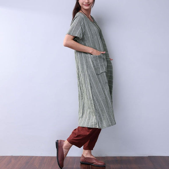 Cotton Linen Loose Women Summer Splicing Stripe Green Dress - Buykud