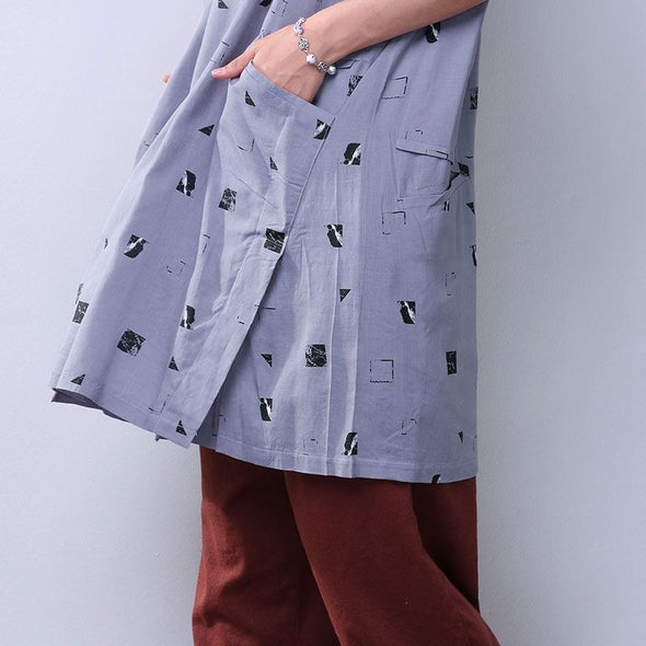 Splitting Summer Loose Printing Women Casual Pocket Gray Dress - Buykud