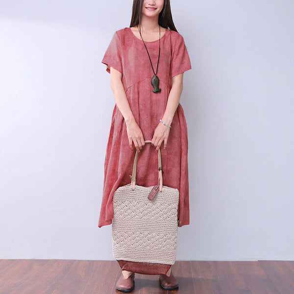 Simple Casual Loose Women Linen Dyeing Red Dress - Buykud