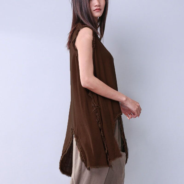 Summer Women Solid Slit Sleeveless Coffee Shirt - Buykud