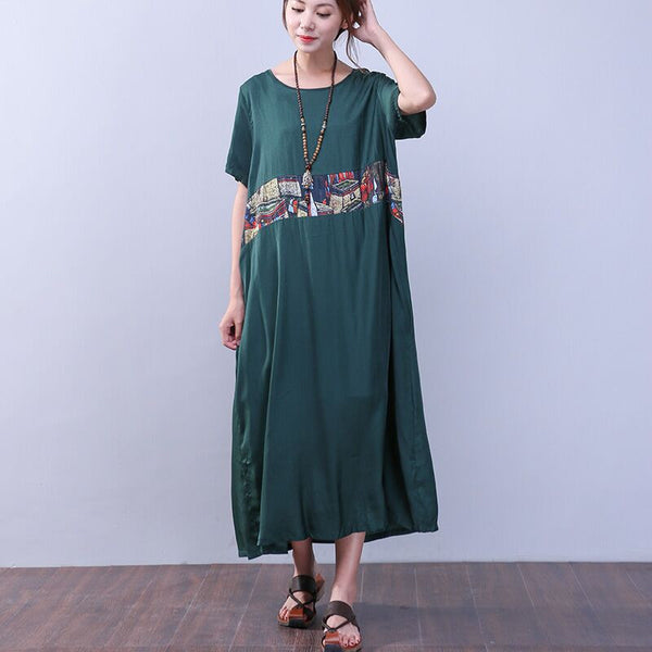 Ethnic Folded Printing Short Sleeves Green Dress