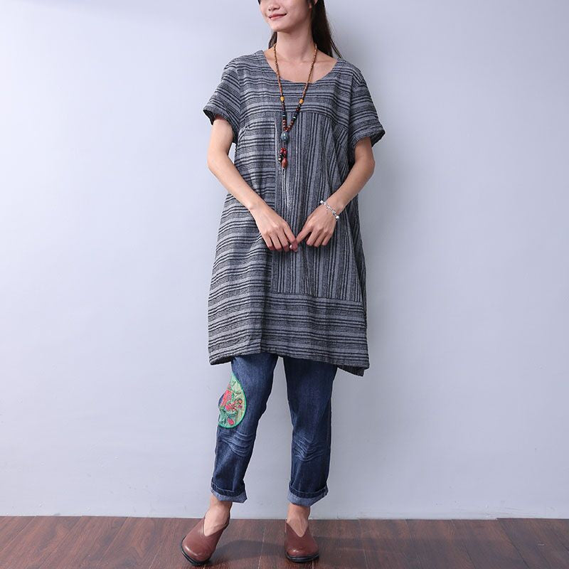 Summer Women Casual Stripe Gray Dress