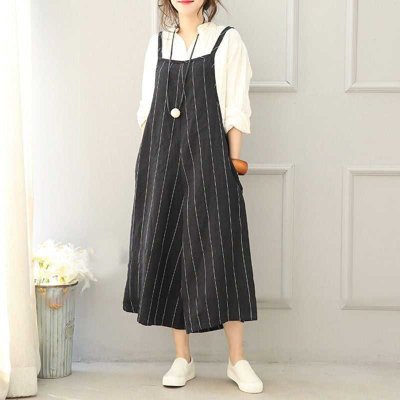 Women Linen Casual Wide Leg Overalls