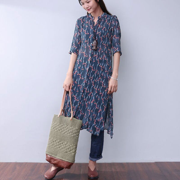 Printing Floral Women Loose Folded Splitting Blue Dress