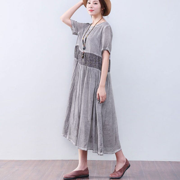 Loose Printing Pocket Lining Short Sleeves Gray Dress - Buykud