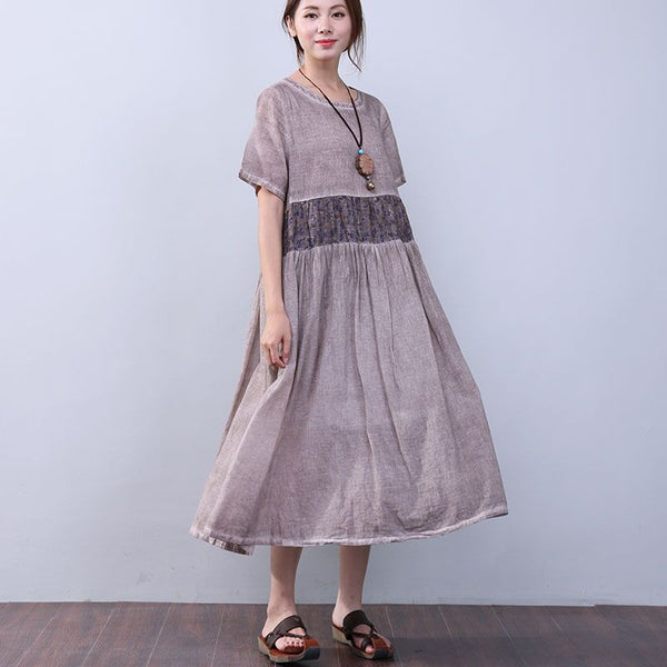 Loose Printing Pocket Lining Short Sleeves Coffee Dress - Buykud