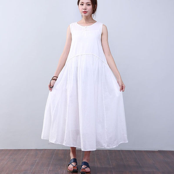 Women Summer Elegant Folded Sleeveless White Dress - Buykud