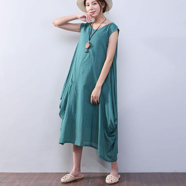 Irregular Loose Summer Women Cotton Sleeveless Green Dress - Buykud