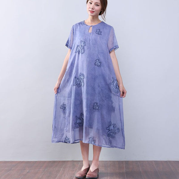 Women Retro Loose Casual Cotton Short Sleeves Jacquard Purple Dress - Buykud