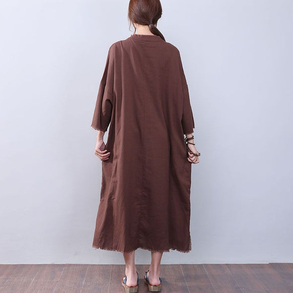Loose Slit Splicing Frog Long Sleeves Coffee Dress - Buykud