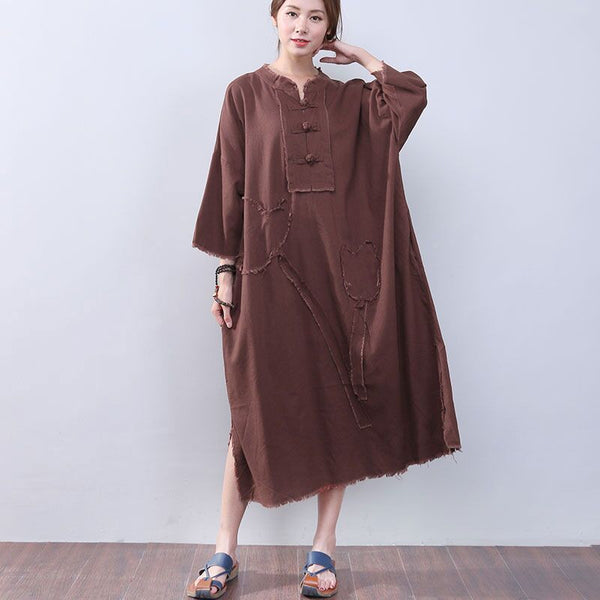 Loose Slit Splicing Frog Long Sleeves Coffee Dress