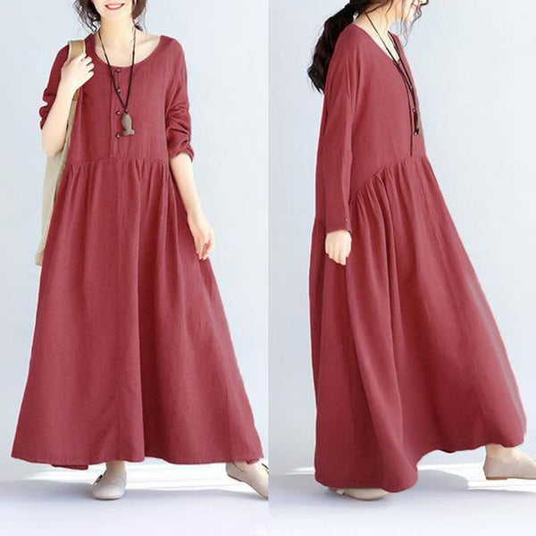Women Long Sleeves Linen Red Dress
