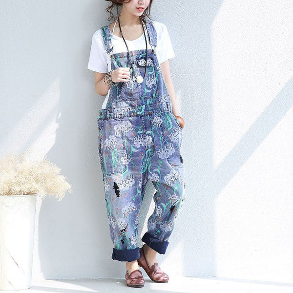 Casual Loose Distressed Cotton Denim Overalls - Buykud