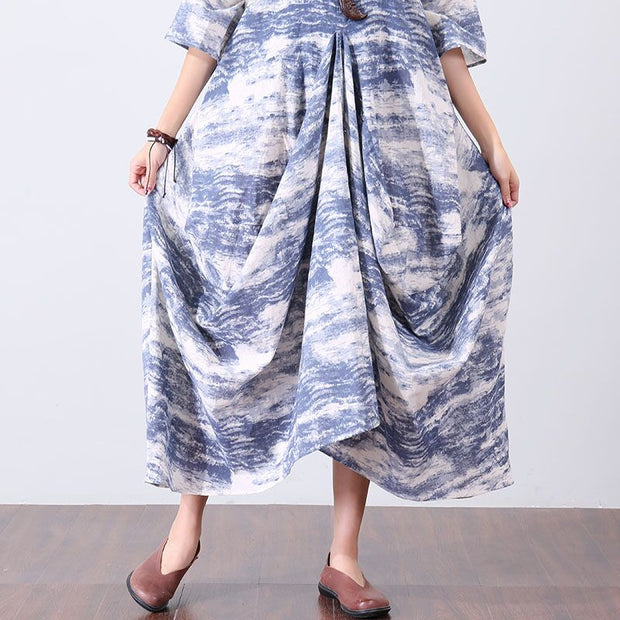 Splicing Women Printing Loose Irregular Linen Folded Cotton Blue Dress - Buykud
