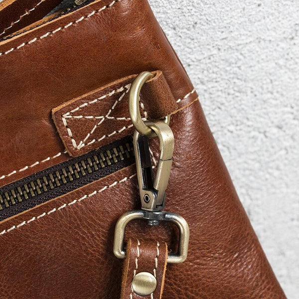 Solid Buckled Zipper Leather Light Brown Tote Bag - Buykud