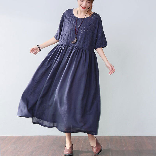 Loose Applique Short Sleeves Women Blue Dress