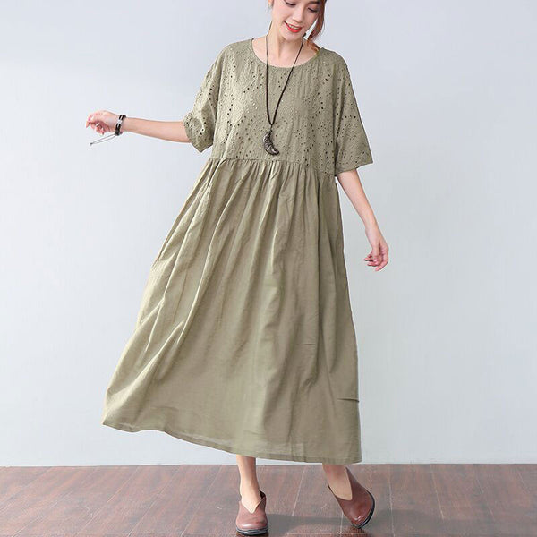 Loose Applique Short Sleeves Women Green Dress