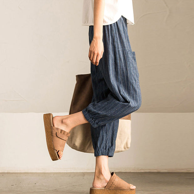 Summer Women Loose Stripe Blue Lantern Pants - Buykud