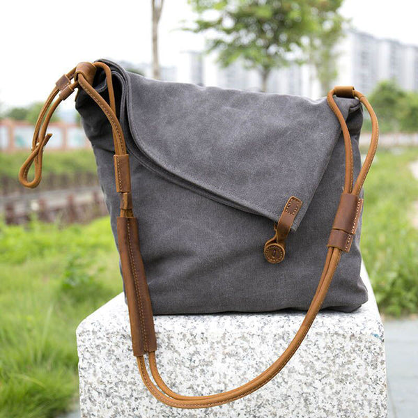 "Women Canvas Leather Crossbody Bag, 12.99""(L)x15.35""(H) x 3.54""(W) (Gray/Blue/Khaki) - Buykud"