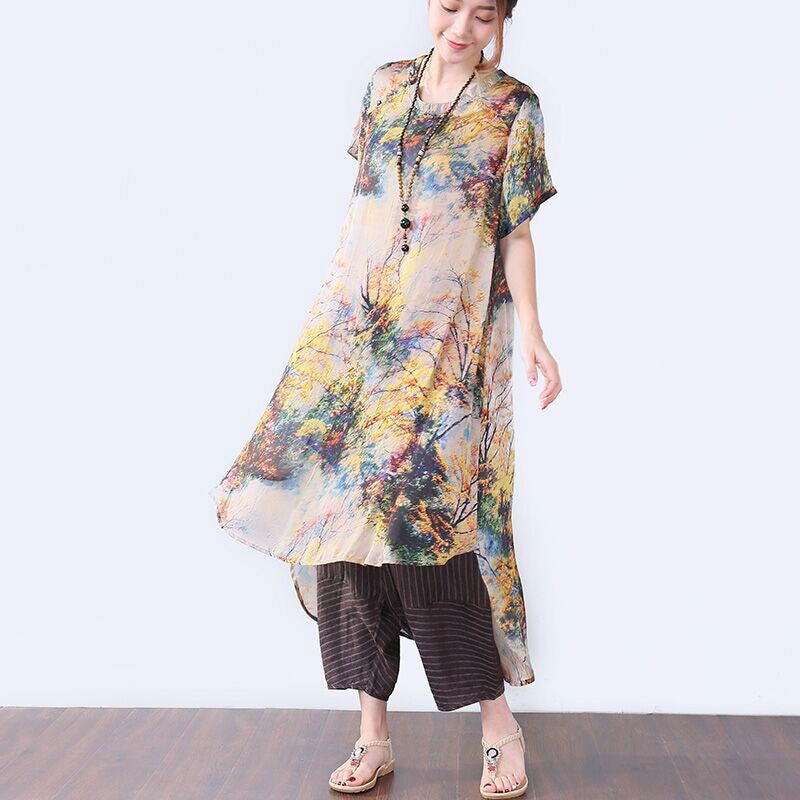 Stylish Printing Button Short Sleeves Women Beige Dress