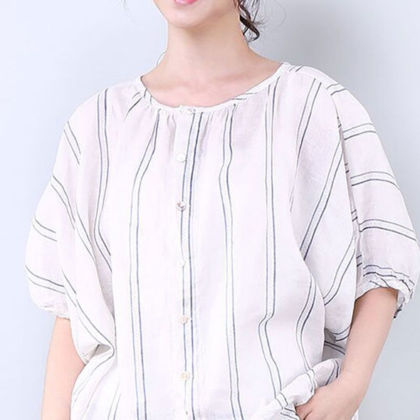 Women Casual Loose Stripe Short Sleeve White Shirt - Buykud