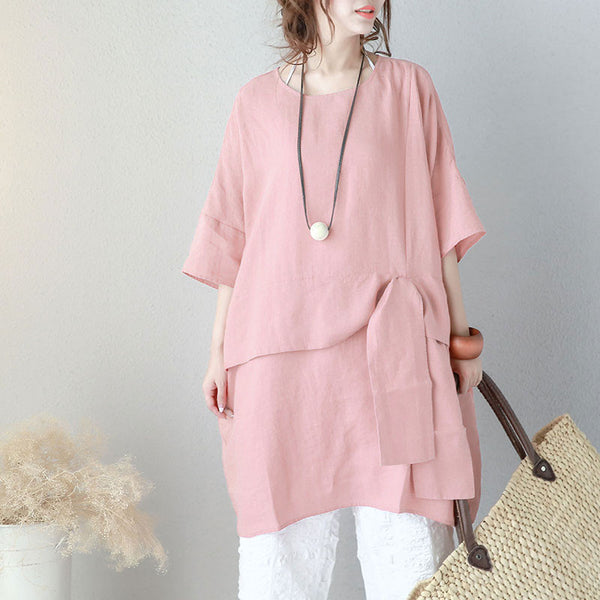 Stylish Strap Pocket Three Quarter Sleeves Women Pink Dress