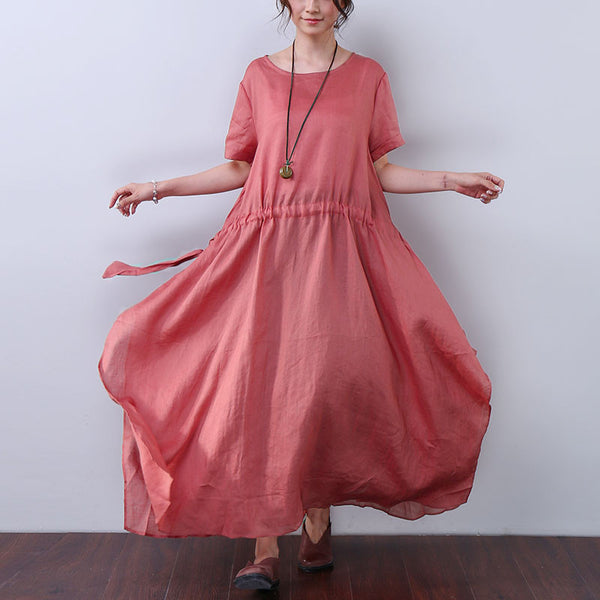 Solid Strap Short Sleeves Women Red Dress - Buykud