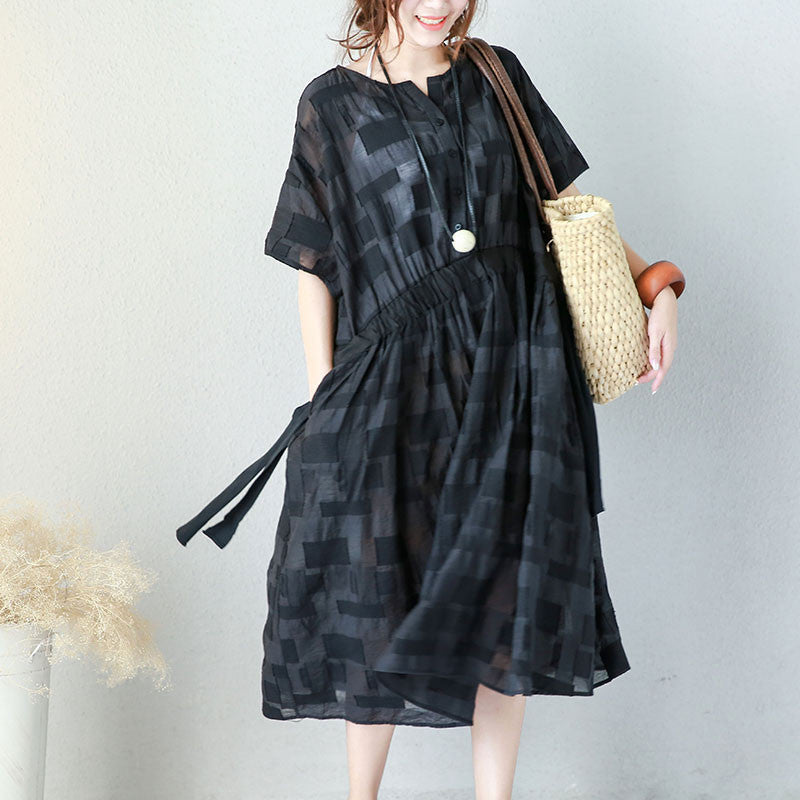 Lattice Women Loose Casual Summer Lacing Cotton Black Dress - Buykud