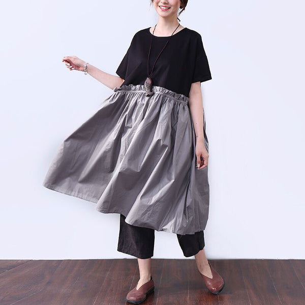 Splicing Women Loose Lacing Casual Cotton Summer Gray Dress - Buykud