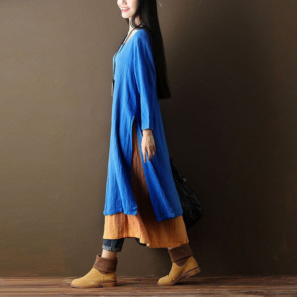 Linen Simple Casual Long Sleeves False Two Blue Dress - Buykud