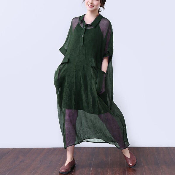 Cotton Button Elbow Sleeves Women Green Dress - Buykud