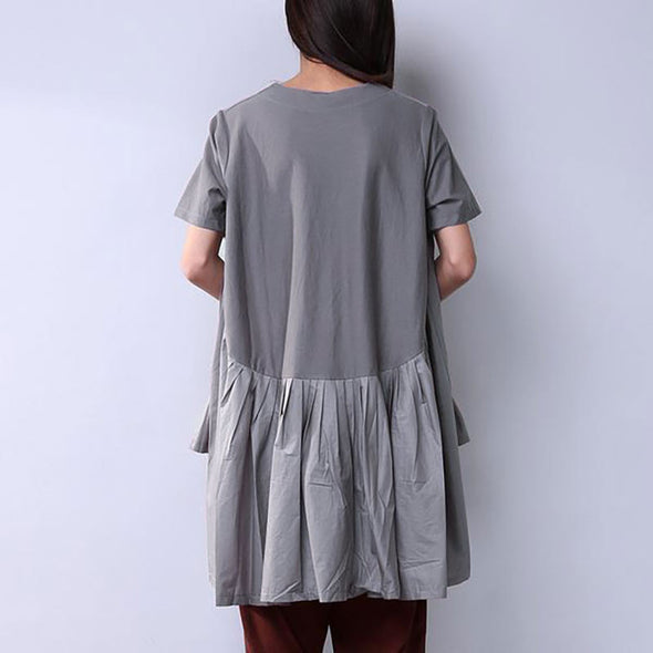 Women Casual Folded Splicing Gray Skirt - Buykud