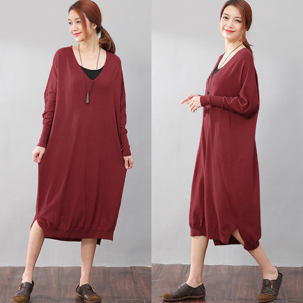 Women Solid Red Long Sleeve Side Slit Casual Dress - Buykud